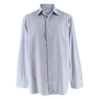 Donato Liguori White Floral Cotton Long Sleeve Hand Tailored Shirt