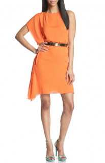 Halston Orange Draped Dress