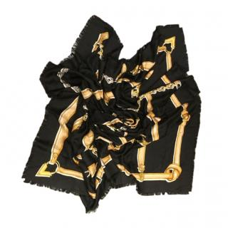 Louis Vuitton Black Silk & Wool Harness Scarf