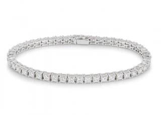 Bespoke White Gold Princess Cut Diamond Line Bracelet