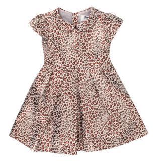 Bonpoint Leopard Print Lurex Pleated Dress
