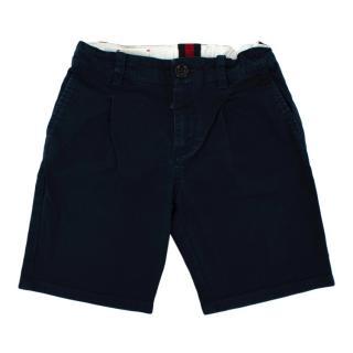 Gucci Navy Cotton Pleat Shorts