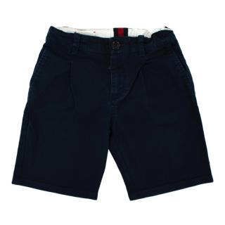 Gucci Navy Cotton Pleat Shorts
