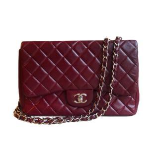 Chanel Burgundy Caviar Leather Maxi Flap Bag