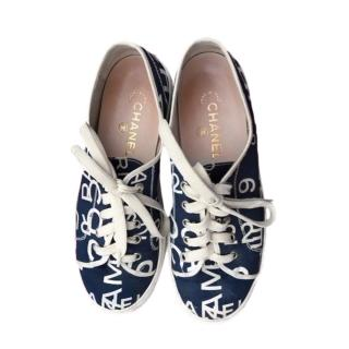 Chanel Blue Logo Lace-Up Sneakers