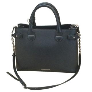 Burberry Black Leather Check Lined Tote Bag