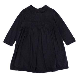 Bonpoint Navy Cotton Ruffled Skirt Dress