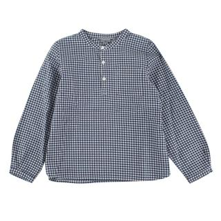 Bonpoint Blue Gingham Mandarin Collar Long Sleeve Shirt
