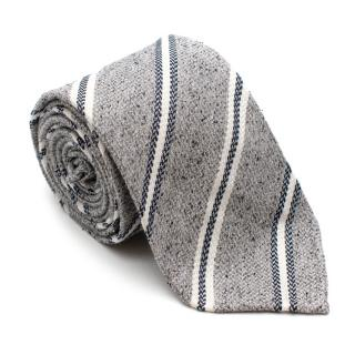Drakes Grey Striped Silk & Linen Tie