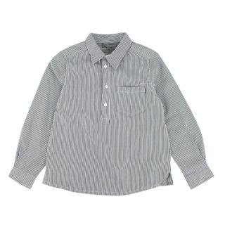 Bonpoint Grey Striped Cotton Blend Long Sleeve Shirt