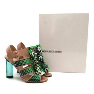 Nicholas Kirkwood for Peter Pilotto Nude & Green Embellished Sandals