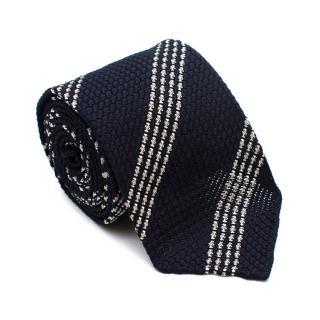 Drakes Navy Striped Silk Textured Tie