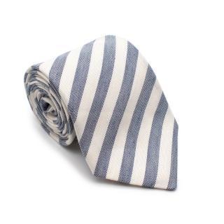 Sartoria Rossi White & Blue Striped Silk & Linen Tie