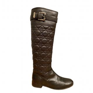 Christian Dior Cannage Leather Tall Boots