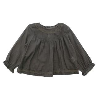 Marie Chantal Grey Cotton Voile Pleated Top