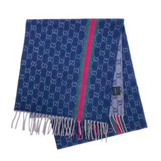 Gucci Blue Cashmere Monogram Web Stripe Scarf