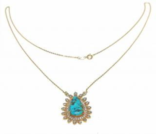 Noor Fares turquoise and diamond talisman pendant