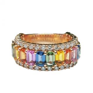 Bespoke 18kt Rose Gold Diamond & Rainbow Sapphire Ring
