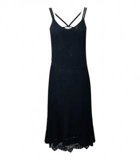 Calvin Klein black lace trim fine ribbed knit dress