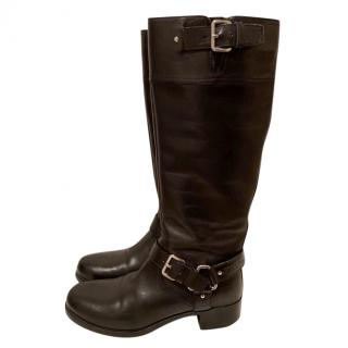 Prada black leather riding boots