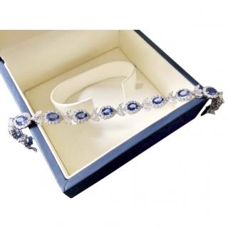 Bespoke Italian fine sapphire and diamond bracelet with papers