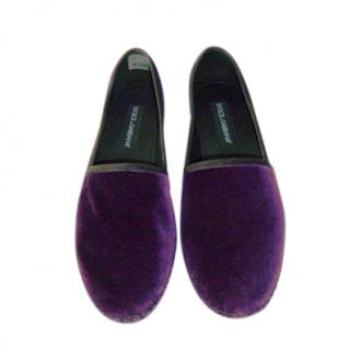 Dolce & Gabbana luxury purple men's espadrille moccasins