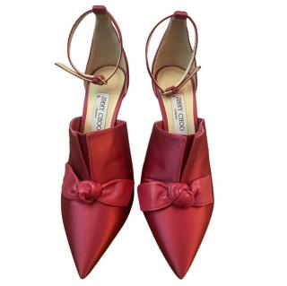Jimmy Choo Satin Ankle Strap Bow Detail 100mm Pumps