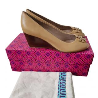 Tory Burch Camel Leather Wedge Pumps