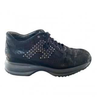 Hogan Black Lace Interactive Crystal H Sneakers