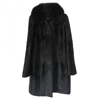 Joseph Silk Lined Goat & Fox Fur Coat