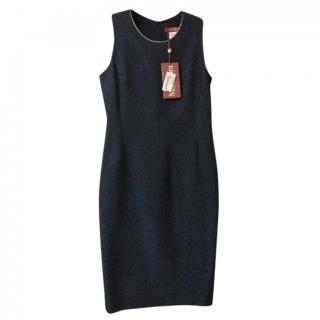 Max Mara Blue Metallic Trimmed Sleeveless Dress