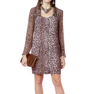 Rixo Julianne Leopard Print Button Down Dress
