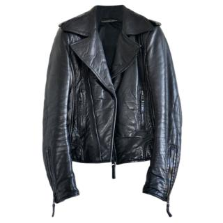 Balenciaga Leathers Black Asymmetric Biker Jacket
