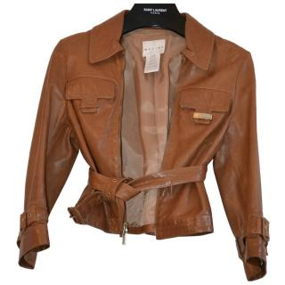Celine brown leather belted 3/4 sleeve jacket