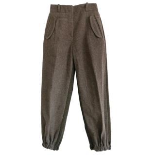 Fendi Brown Wool Blend Tapered Pants