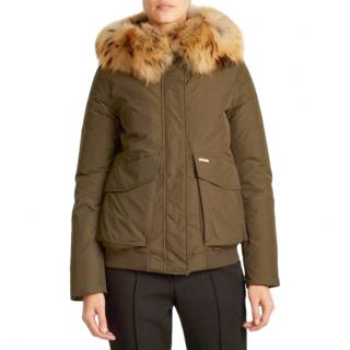 Woolrich Fur Trimmed Khaki Hooded Jacket