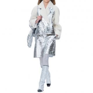 Chanel Metallic Leather & Shearling Runway Jacket