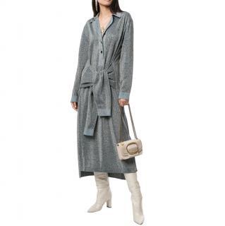 Lanvin Runway Metallic Jumper Style Midi Dress