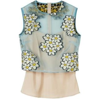 REDValentino Organza Floral Embroidered Top