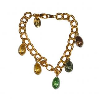 Faberge 18ct Yellow Gold-Plated Enamel Egg Bracelet