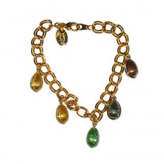 Faberge 18ct Yellow Gold-Plated Enamel Egg Bracelet
