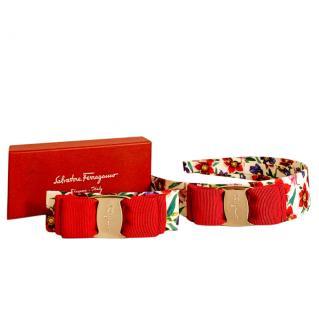 Ferragamo Red & White Floral Hair Barrette & Headband