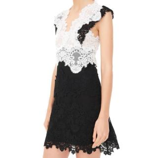 Sandro Black & White Lace Butterfly Mini Dress