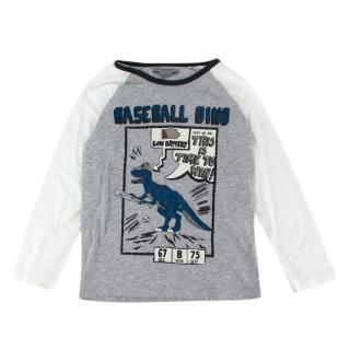 Bonpoint Grey Cotton Baseball Dino Long Sleeve Sweater