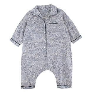 Caramel Blue Paisley Print Cotton Babygrow