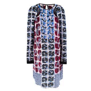 Peter Pilotto Red & Blue Silk Geometric Print Long Sleeve Dress