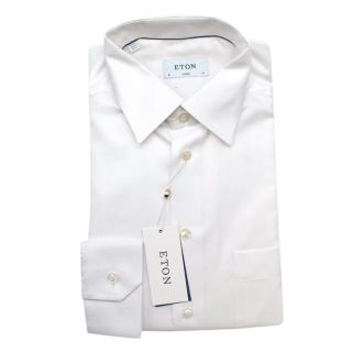 Eton White Cotton Classic Fit Long Sleeve Shirt