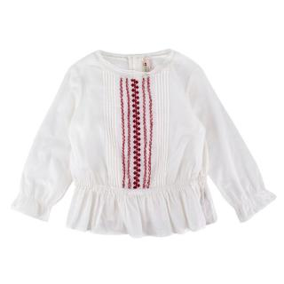 Bonpoint White Cotton Hand Embroidered Ruffled Top