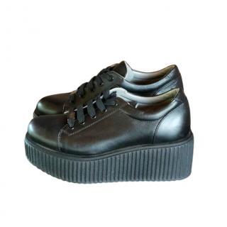 Karl Lagerfeld Black Leather Platform Trainers