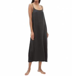 Asceno Black Silk Satin Long Slip Dress
